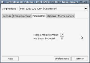 Capture-Contrôleur de volume: Intel 82801DB-ICH4 (Alsa mixer)